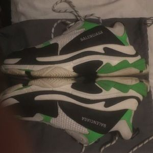 Balenciaga Triple S size 43 black white and green
